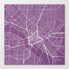 Dallas Map, USA - Purple Canvas Print