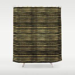 Gold and black stripes minimal modern painted abstract painting minimalist decor nursery Shower Curtain