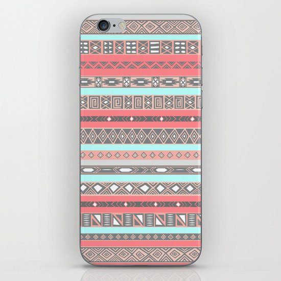 Peach Rose Baby Blue Aztec Tribal Native Pattern iPhone & iPod Skin
