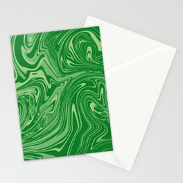 Green pastel abstract marble Stationery Cards