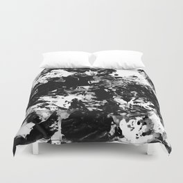 Modern abstract black and white acrylic paint marble Duvet Cover