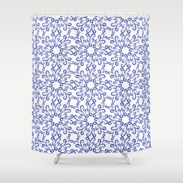 Blue elements of flowers collected in a dense pattern Shower Curtain