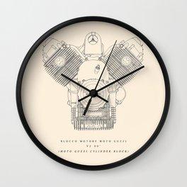 Original technical drawing, italian motorcycle engine, retro garage sign, vintage mechanic Wall Clock