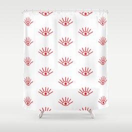 Red Evil Eye Pattern Shower Curtain