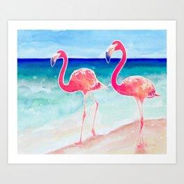 Flamingo Beach - tropical pink flamingos | ocean | resort | seaside | summer Art Print