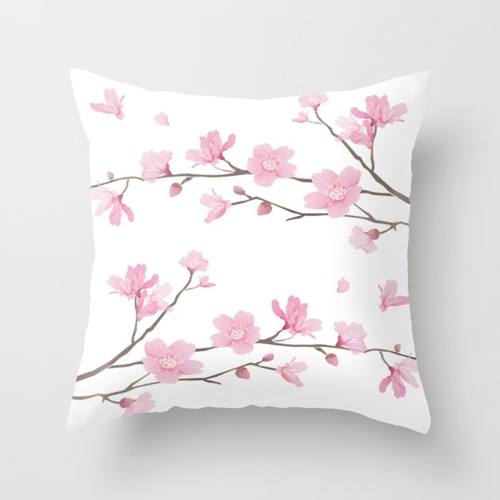 Square Cherry Blossom Transparent Background Throw Pillow By Designenrich Society6