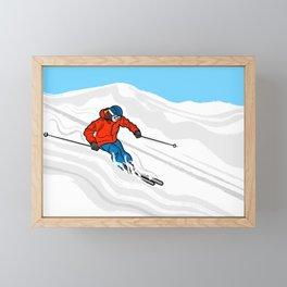 Skier Illustration Framed Mini Art Print