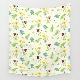 Spring Flowers and Ferns Illustrated Pattern Print Wall Tapestry