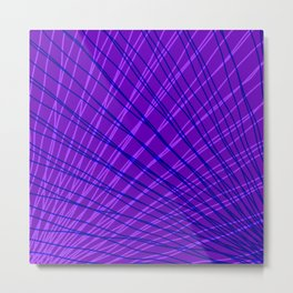 Rays of blue light with mirrored violet waves on mesh. Metal Print