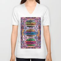 holographic V-neck T-shirts featuring black burger doom zone by STORMYMADE