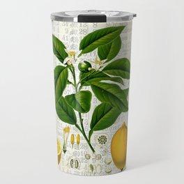 Lemon Botanical print on antique almanac collage Travel Mug