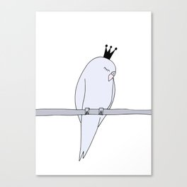 Blue budgie bird with crown Canvas Print