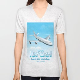 Israel flight poster Unisex V-Neck