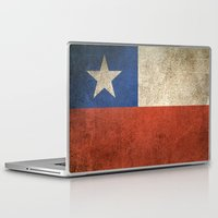 chile Laptop & iPad Skins featuring Old and Worn Distressed Vintage Flag of Chile by Jeff Bartels