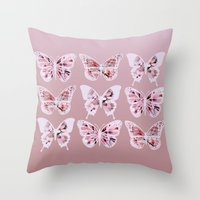 butterflies Throw Pillows featuring Butterflies by Vickn