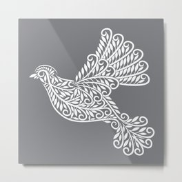 Peace, Dove, Gray and White Metal Print