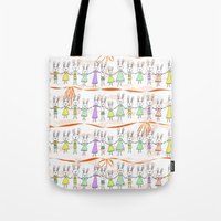 bunnies Tote Bags featuring Bunnies by Anchobee