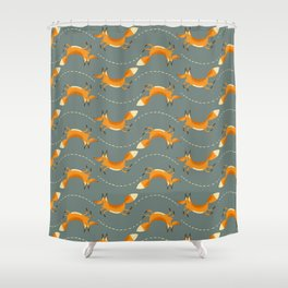 Fox Hop Shower Curtain