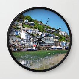 England Looe Cornwall Hill Riverboat Pier Coast Motorboat Cities Building Berth Marinas speedboat powerboat Houses Wall Clock
