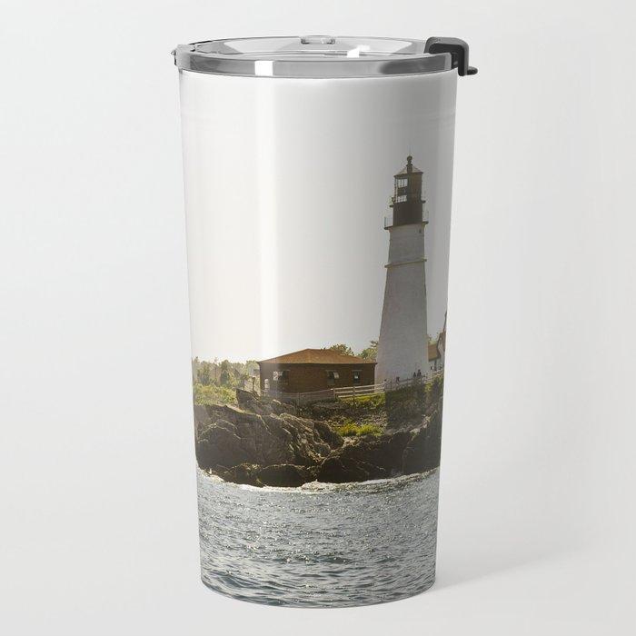 Lighthouse in Portland, Maine. Travel Mug