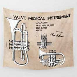 Valve musical instrument patent art Wall Tapestry