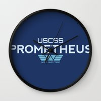 prometheus Wall Clocks featuring USCSS Prometheus - Crew Member Shirt by Artpunk101