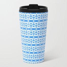 Dividers 02 in Blue over White Metal Travel Mug