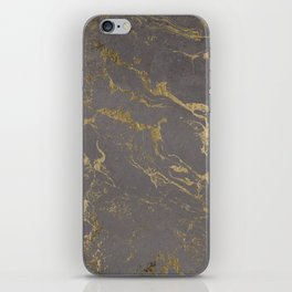 Modern Grey cement concrete gold marble pattern iPhone Skin