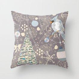 Christmas Bird Throw Pillow