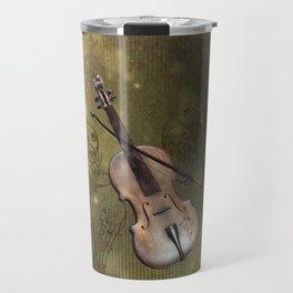 Wonderful violin with clef and key notes Travel Mug