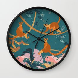 Lemurs in the jungle III Wall Clock