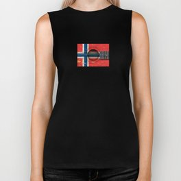Old Vintage Acoustic Guitar with Norwegian Flag Biker Tank