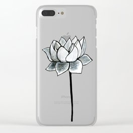 Grey Lotus Clear iPhone Case