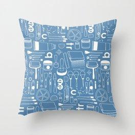 BIENNALE_COMBO_BLEU_OFF_WHITE Throw Pillow