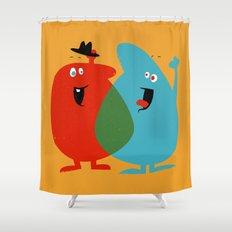 Hello Old Chum | Illustration of Friendship Shower Curtain