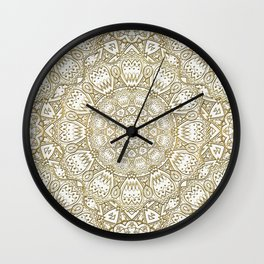 Golden Mandala in Cream Colored Background Wall Clock