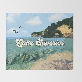 Lake Superior Retro Throw Blanket