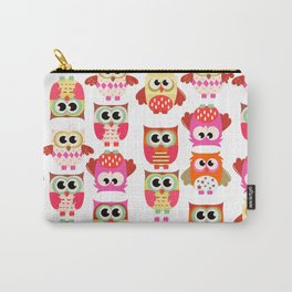 Funny cute hot pink yellow owl pattern Carry-All Pouch