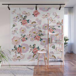 Cute spring design with cosmos flowers in watercolor style Wall Mural