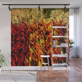Ristras made from green, yellow, orange and red chile peppers Wall Mural