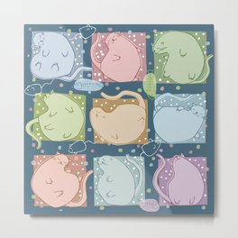 Blobby Cats dark Metal Print