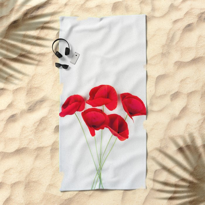 a Bunch Of Red Poppies Beach Towel