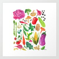 oana befort Art Prints featuring VEGGIES by Oana Befort