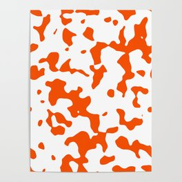 Large Spots - White and Dark Orange Poster
