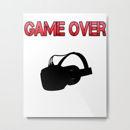 VR Game Over Red Metal Print