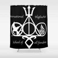 fandom Shower Curtains featuring International Highschool of All Fandom by sokteulu