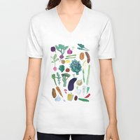vegetables V-neck T-shirts featuring Vegetables by The Printed Peanut