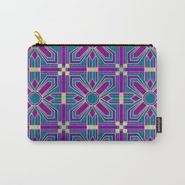Art Deco Floral Tiles in Fuchsia, Teal and Purple Carry-All Pouch