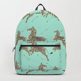 Royal Tenenbaums Zebra Wallpaper - Seafoam green Backpack