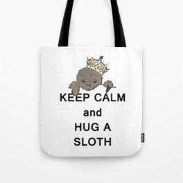 Keep Calm and Hug a Sloth with Crown Meme Tote Bag